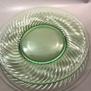 Other - Green depression or Vaseline glass luncheon plate